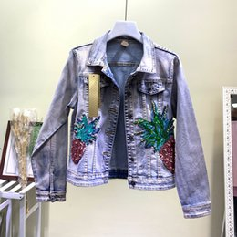 industry jackets NZ - Fashion Heavy Industry Embroidery Sequins Pineapple Jeans Jacket Girls Lady Short Stretch Hole Cowboy Coat Women Denim Jackets