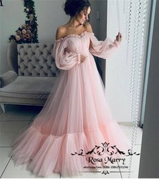 Cheap Girls Vintage Dresses Australia - Pink Off Shoulder Arabic Prom Dresses 2019 A Line Long Sleeves Vintage Lace Appliques Cheap Princess Girls Formal Evening Party Gowns