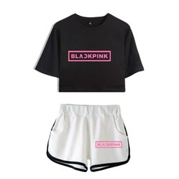 $enCountryForm.capitalKeyWord Australia - New Blackpink Two Piece Set Summer Sexy 2018 Cotton Printed T Shirt Album Woman Suit Shorts Crop Blackpink Fashion Tops+short Y19051301
