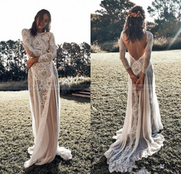 backless hippie wedding dress Australia - Sexy Backless Bohemian Beach Wedding Dresses Long Sleeve Nude Lining Country Vintage Lace Wedding Bridal Gowns Hippie Gypsy Bride AL4103