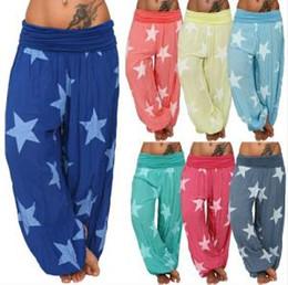 Long bLue yoga pants online shopping - Womens Star Wide Leg Pant Print Loose Long Pants Trousers Casual Yoga Fitness Sports Pants LLA297