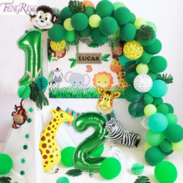 number one wholesales UK - FENGRISE Green Number Foil Balloons Safari Jungle Party Decor 1st Birthday Party Decoraions Kids Wild one Year Birthday boy