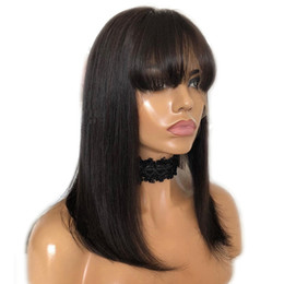 $enCountryForm.capitalKeyWord UK - Lace Front Short Bob Wig 13*6 Brazilian Human Hair Wigs With Bangs Remy Baby Hair Full End For Women Straight Natural Black Hair