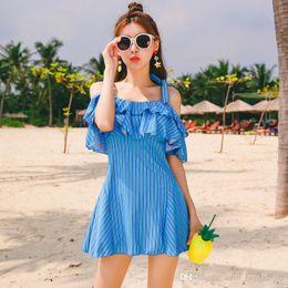 $enCountryForm.capitalKeyWord NZ - Women Summer Dress Ruffle Plus Size Sleeve Off Shoulder Slash Neck Beach Dress Elegant Wide Strappy Dresses