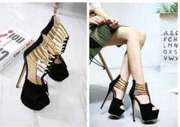 $enCountryForm.capitalKeyWord Australia - Gold Strap Ballroom Dance Shoes High Heels 2015 New Sandals For Women Red Heels Elegant Wedding Bridal Shoes size 35 to 40