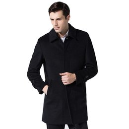 men coat high collar wool Australia - High-quality Winter Wool Jacket Men Wool Blend Casual Slim Collar Coat Men Long Cotton Single Breasted For Male