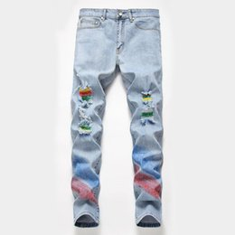 Jeans Pant Paint Australia - Original design painted lacquered hole jeans male personality tide brand stretch hand-painted pants summer men's trousers