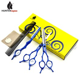 $enCountryForm.capitalKeyWord Australia - HUNTERrapoo HT9170 5.5 6 7inch professional hair cutting and thinning scissors set for barber hairdressing shears BLUE