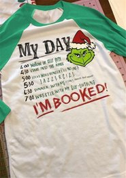 Winter t shirts long neck online shopping - Women Christmas Grinch Patchwork T Shirts My Day Letters t shirt Long Sleeve Match Color Tops Pullover Female Tees Baseball T shirt C112002
