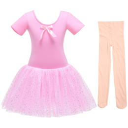 Wholesale dance pantyhose resale online - Ballet Leotards Ballet Dress for Girls Fashion Backless Dance Dress Gymnastic with Pantyhose Elegant Dancer Outfit