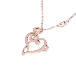 musical note necklaces NZ - 2019 New Simple Fashion Hollow Heart Shaped Musical Note Pendant Necklace Music Jewelry Cute Gift Dress Accessories