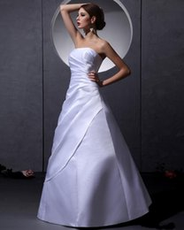Strapless Coral Dresses Australia - 2097 NEW Strapless Sleeveless Lace Up Floor Length Ruffle white satin Woman A Line Wedding Dresses 461