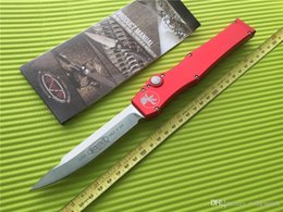 Single clip color online shopping - 2 Color Microtech Halo Single Action Auto Knife quot D2 Steel Satin Drop Clip Point Christmas Gift Collection Knife EDC Tools L F