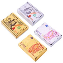 Wholesale Poker card Gold Sliver Foil Dollar Playing Cards Waterproof Luxury Gold Plated Euro Pokers For Gift Collection