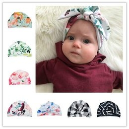 flower muslim girl Australia - Baby girl beanies Flower Printed Spring Bow Knot cap fashion Floral knotted soft cotton hats Indian muslim bohemia caps