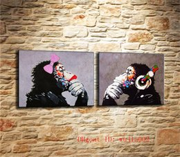framed mural painting Australia - DJ MONKEY , 2P Canvas Painting Living Room Home Decor Modern Mural Art Oil Painting