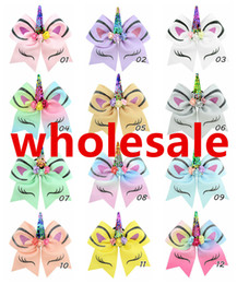 Large Girls Hair Clips Australia - wholesale 12 colors 7 inch Girls Large Hair Clip Bows With Metal & Card Sequin Rainbow Unicorn Horn Bow-knot 12 Styles Jumbo Ribbon bows