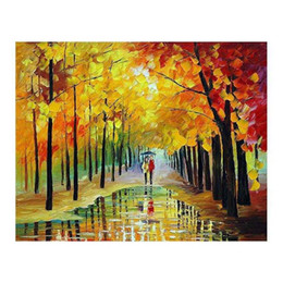 White Tree Life Painting Australia - 24x36 Hand-painted oil painting white birch wood painting living room sofa wall decoration European villa tree-lined path