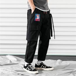 Ingrosso ZK 2019 Tasche Pantaloni Harem da uomo Pantaloni da jogging Casual Pantaloni larghi RIbbon Pantaloni tattici Harajuku Streetwear Pantaloni Hip Hop