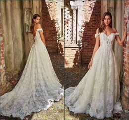 Hot Sexy White Dresses Australia - Hot Off The Shoulder White A-Line Lace Wedding Dresses Appliques With Court Train Long Bridal Gown Sexy Back Wedding Gowns DH5002