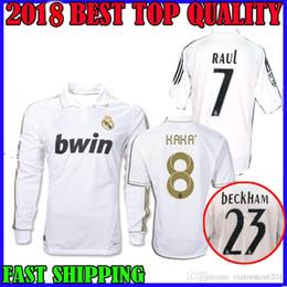 9420fdfbc 2011 2012 real madrid soccer jersey Retro ronaldo 2005 2006 kaka ozil  ZIDANE 11 12 ROBINHO RAUL 05 06 BECKHAM long sleeve football shirts