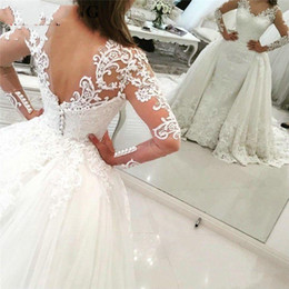$enCountryForm.capitalKeyWord Canada - Luxury Lace Long Sleeve Mermaid Wedding Dress 2019 with Detachable Skirt Backless Court Train Saudi Arabia Bridal Wedding Gowns Dubai BA7866
