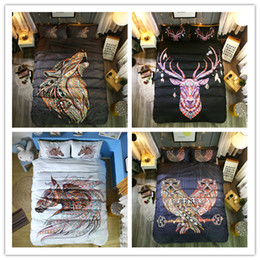 3d bedding set horses Australia - 3D Printing National Animal style 2 3 Pcs Bedding Set With Pillowcase Wolf Deer Horse Owl