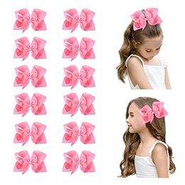 "make ribbon hair accessory Australia - 15pcs lot 6"" Big Hand-made Grosgrain Ribbon Hair Bow Alligator Clips Hair Accessories for Little Teen Toddler Girls"