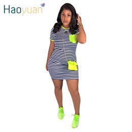 festival style clothing NZ - HAOYUAN Casual Stripe T Shirt Dress Women 2020 Festival Clothes Plus Size Summer Vestidos Neon Short Sleeve Bodycon Mini Dresses Y200418