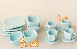 Toy Furniture Wholesale Australia - 1:12DIY doll house Mini simulation porcelain toy Light blue ceramic tea set of 16