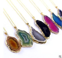 gold plated agate stone pendant NZ - Natural stone necklaces original agate hole not grind the clavicle chain necklace sweater chain pendant necklace seven colors 576