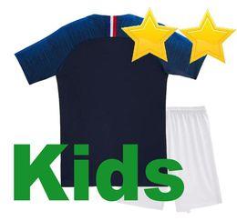 Kids World Cup Soccer Jerseys Australia - 2 stars Kids GRIEZMANN MBAPPE  POGBA soccer jersey 2018 2815b9c72