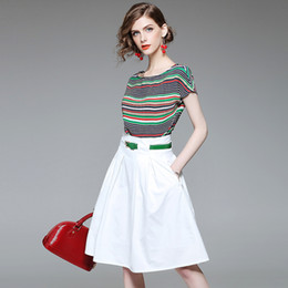 $enCountryForm.capitalKeyWord Australia - Summer's new fashion stripe T-shirt short-sleeved round collar top + solid color waist sashes skirt suit slim fit high waist A-line skirt