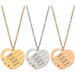 customize necklaces Australia - Customized Name Necklace Personalized Jewelry 4 Crystal 4 Custom Name Heart LOVE Pendant For Men Women Link Chain Jewelry