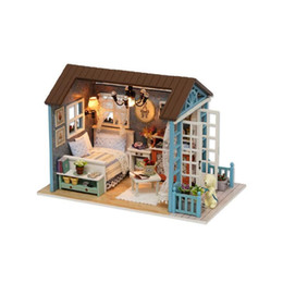mini house for dolls NZ - American Style Wooden Toys For Children Classical House Diy Mini Dollhouse Toys With Led Light Handmade Doll House Furniture Kit Y19070503