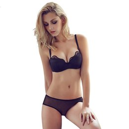 $enCountryForm.capitalKeyWord Australia - Fashion hot-selling glossy thin cotton cup bra set sexy lace tube top push up women's underwear ABCD cup three colors black blue skin
