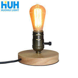 wooden desk lamps 2019 - Wooden Aluminum Table Retro Loft Desk Edison Bulb 110v 220v Dimmable Night Light Office Lamp Bedroom living Room cafe La