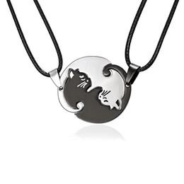 $enCountryForm.capitalKeyWord Australia - Stainless steel simple animal cat pendant black and white kitten hug round couple stitching necklace
