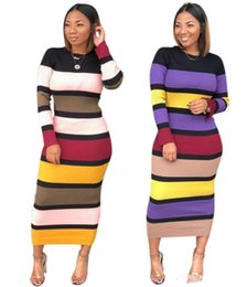 Wholesale Stretchy Dresses NZ - women long sleeve dress striped long bodycon skirts sexy skinny pencil dresses stretchy mid-calf dresses ladies designer fall clothes