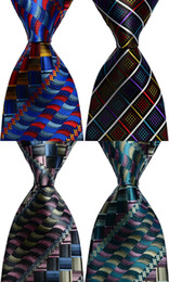 black weaves Canada - Ties for men Silk Plaid necktie Blue Red Black Green Jacquard Party Wedding Woven Fashion Design