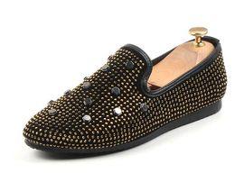 Black Dress Golden Beading Australia - 2019 European Slip-On men's Casual shoes GOLDEN men Party Dress Wedding shoes Pointed rhinestone Men's shoes moccasins loafers LF2