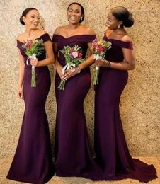 AfricAn dresses online shopping - Grape Satin Mermaid Bridesmaid Dresses Saudi African Off The Shoulder African Maid Of Honer Dress Back Zipper Wedding Guest Gowns BC1288