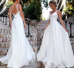 Sexy Lace Fall Wedding Dresses Australia - 2019 New Sexy Deep V-Neck Beach Wedding Dress Spaghetti Straps Backless lace Sleeveless Custom Made Wedding Dresses With Pleats