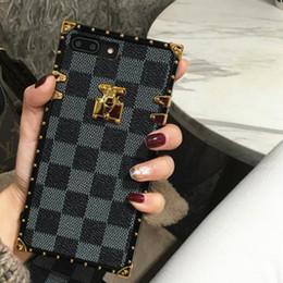 Rejilla de lujo cubierta del diseñador de moda cajas del teléfono para iPhone X XR XS Max 8 7 6 6 s más S9 S10 Note9 cuero suave Shell piel casco GSZ508 en venta