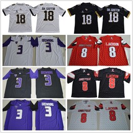 e29f79e1bce Men s 18 Shaquem Griffin Jersey black white  8 Lamar Jackson red Huskies  3  Jake Browning purple UCF Knights college football jerseys