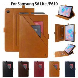 Double Bracket Pu Couro Capa de Tabuleta para Samsung Galaxy Tab S7 mais S6 Lite P610 / T860 / Tab A 10.1 T510 / Tab S5E T720 / P200 / T290 / A7 T505 em Promoção