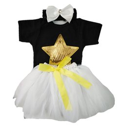 bling clothes accessories UK - 22-23inch Reborn Doll Baby Girl Clothes Bling Bling Star Printed Rompers Gauzy Skirt Bowknot Headband Accessories