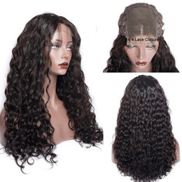wave machine for hair Canada - Water Wave Human Hair Wigs 4*4 Lace Closure Brazilian Virgin Pre Plucked Natural Hairline Black Color Hair Wigs For Black Women Angelawigs