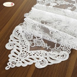 White Roses Table Australia - Proud Rose White Lace Table Flag Table Mat Rectangular Pointed TV Cabinet Cover Cloth Fashion Flag Wedding Supplies