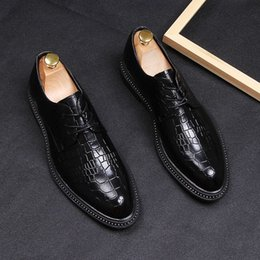 mens black lace up oxfords NZ - mens business dress shoes oxford shoes black Lace-Up Crocodile grain leather pointed toe Suit wedding zapatos de hombre